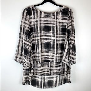 Chaus New York Layered Quarter Sleeve Blouse Top